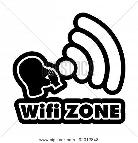 Wi-fi Zone  Black And White Sticker