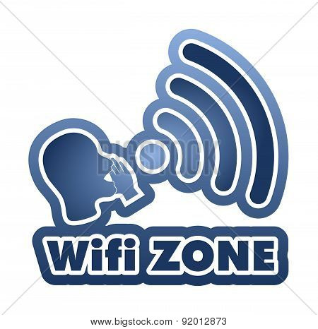 Wi-fi Zone Blue Sticker