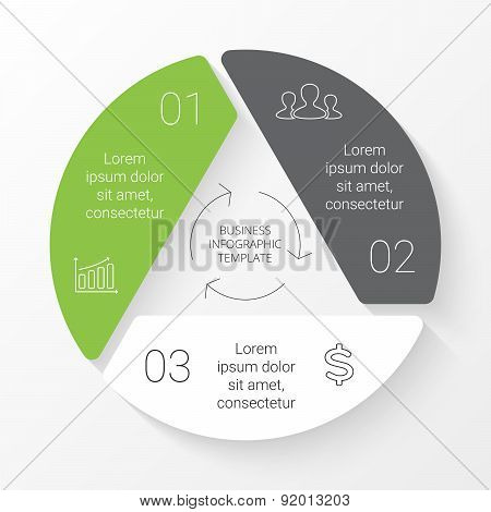 Vector circle triangle infographic. Template for cycle diagram, graph, presentation and round chart.