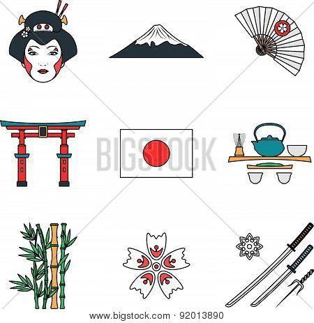 Colored Outline Various Japan Icons Set.