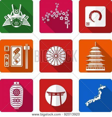 White Solid Flat Style Japanese Icons Set.
