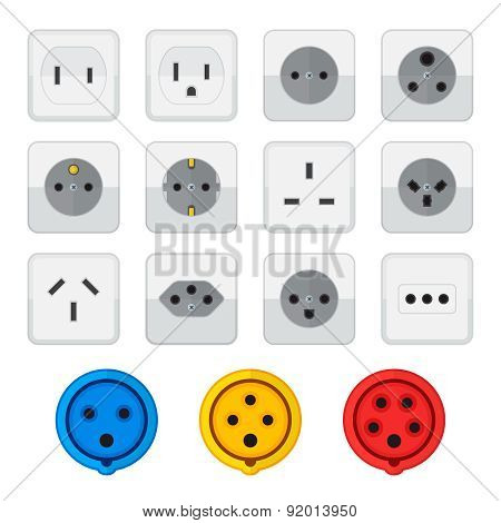 Flat Style Colored Home Industrial Power Socket Types Icon Collection.