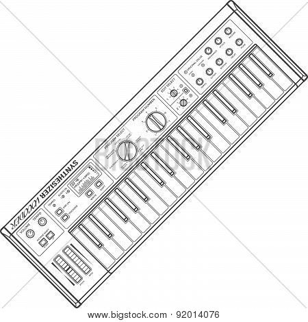 Dark Monochrome Contour Piano Roll Synthesizer Vocoder Illustration.