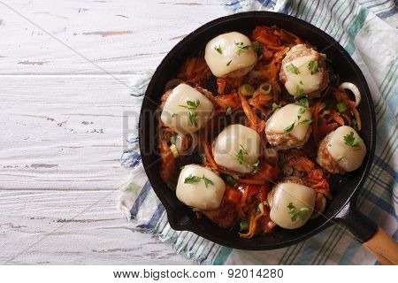 Meatballs With Cheese In The Pan. Horizontal Top View