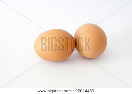 Brown Chicken Egg Isolated On White.