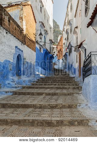 Street in Chefchaouen, Morocco.