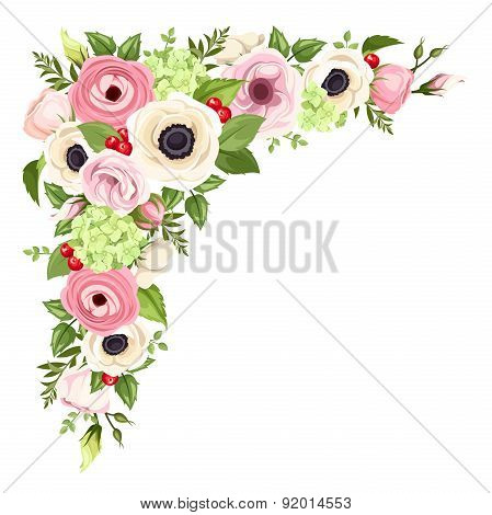 Pink and white anemones, lisianthuses, ranunculus and hydrangea flowers and green leaves. Vector cor