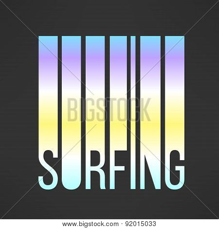 Vector surfing typography with sky colors. T-shirt print and cool background element