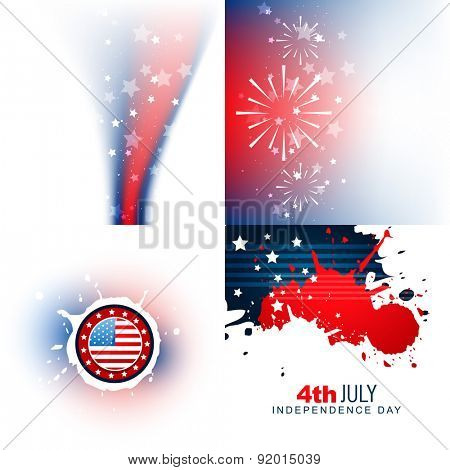 vector stylish set of 4th july independence day background illustration