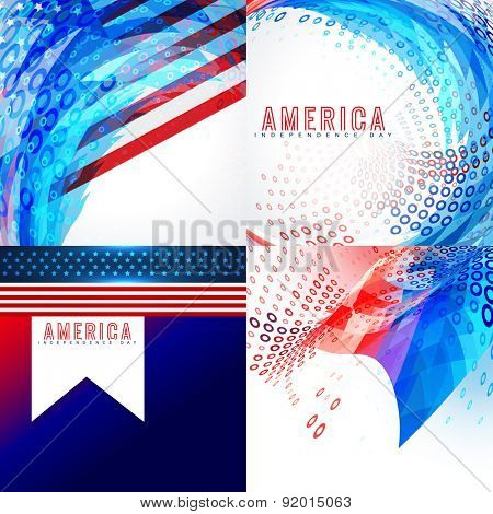vector stylish american flag design set illustration background set