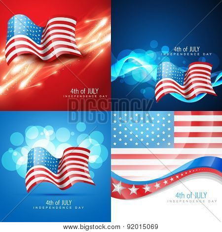 vector set of american flag in different creative style abstract background