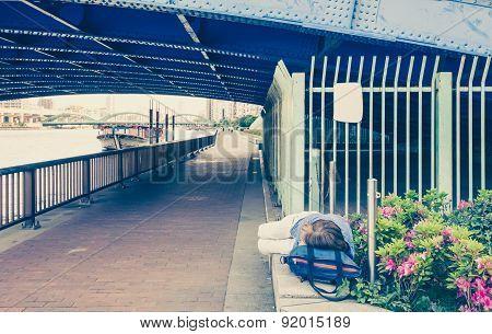Japanese man homeless sleep under the bridge