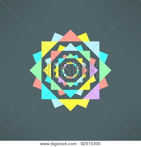 Vector abstract geometric mandala in modern flat design. Mosaic color print