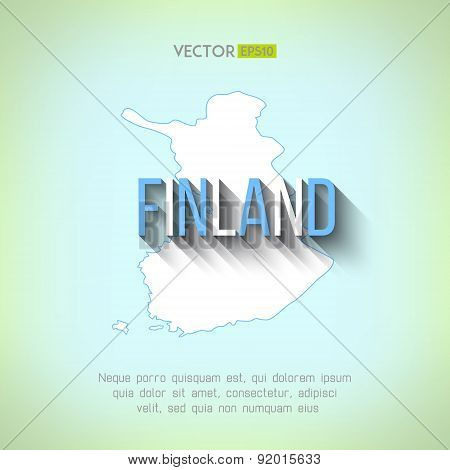Vector finland map in flat design. Finnish border and country name with long shadow