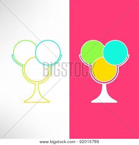 Vector ice cream cup in modern flat design. Bright ice cream dessert symbol