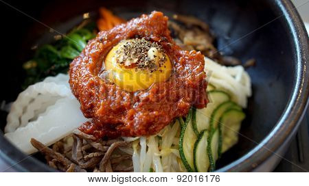 Bibimbap, Korean Hot Mix Side Dishes Food