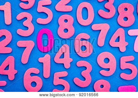 Pink Numbers On Blue