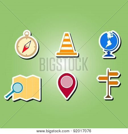 set of color icons with map and location sign