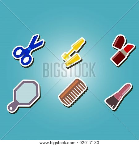 set of color icons with female stuff