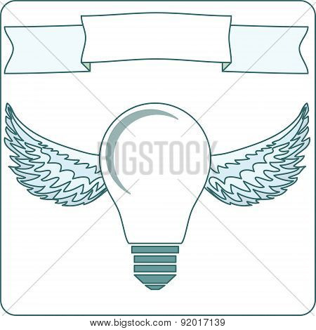 Icon light bulb lamp with wings, halo, banner background
