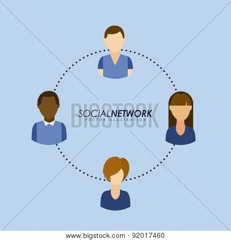 Social network design over blue background vector illustration
