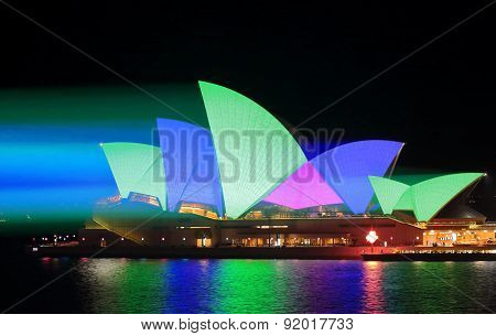 Sydney Opera House Shines In Green And Blue