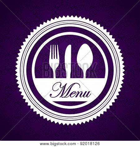 Menu design over purple background vector illustration