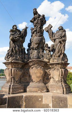 Statues at Carl's Bridge in Prague, Czech Republic