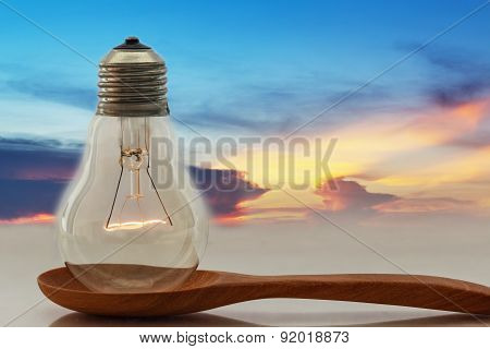 Ideas,light Bulb That Shines On The Ladles