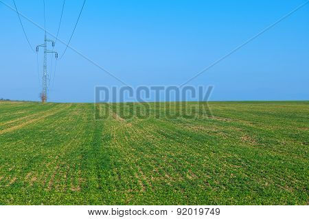 Power line, green field with blue sky
