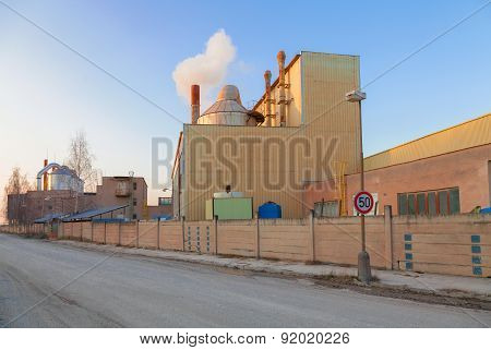 Industrial building and blue sky