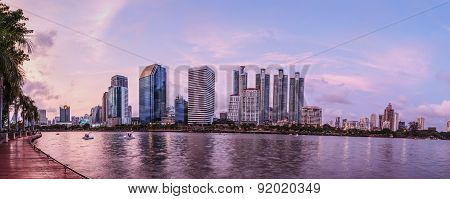 Panorama View Of Bangkok City Scape