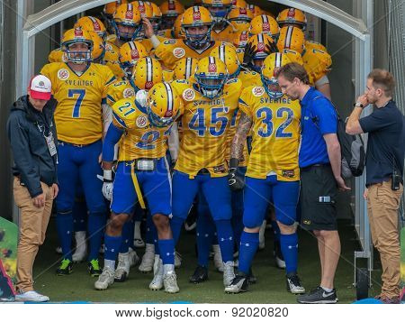 ST. POELTEN, AUSTRIA - JUNE 1, 2014: Team Sweden prepares to enter the stadium.