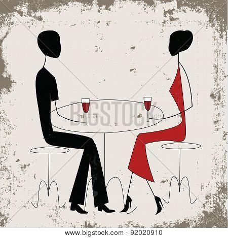 Man ad woman in a restaurant
