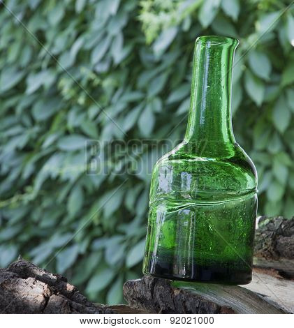 Antique Bottle Of Green Glass