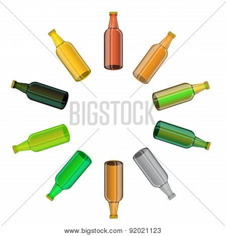 Colored Glass Beer Bottles Set