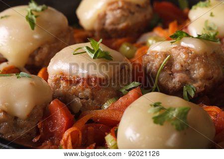 Meatballs Baked With Mozzarella Closeup. Horizontal