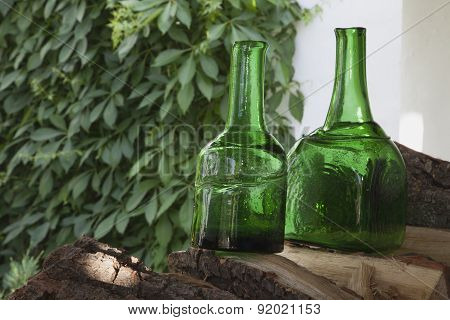 Antique Bottles Of Green Glass