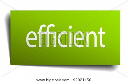Efficient Green Paper Sign Isolated On White