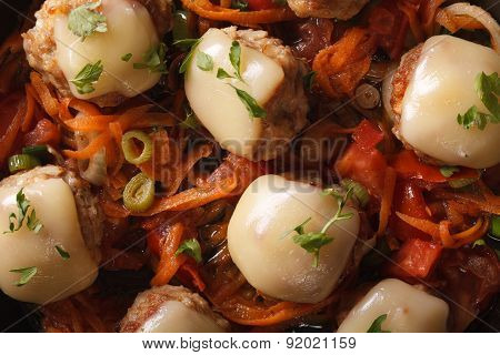 Meatballs Baked With Mozzarella Closeup. Horizontal Top View