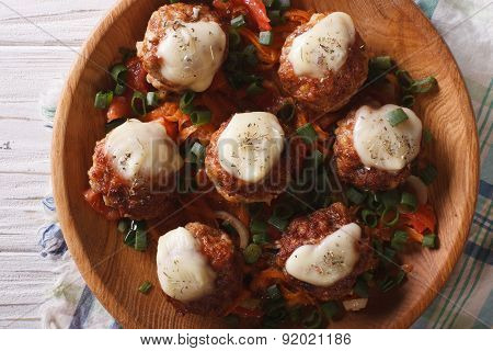 Meatballs With Cheese In Bowl Closeup. Horizontal Top View