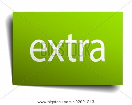 Extra Green Paper Sign Isolated On White