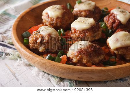 Fried Meat Balls With Mozzarella  In A Wooden Bowl. Horizontal