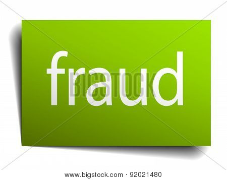 Fraud Green Paper Sign Isolated On White