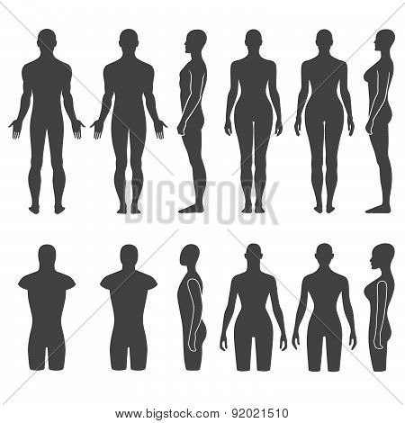 Man & woman mannequin outlined silhouette torso