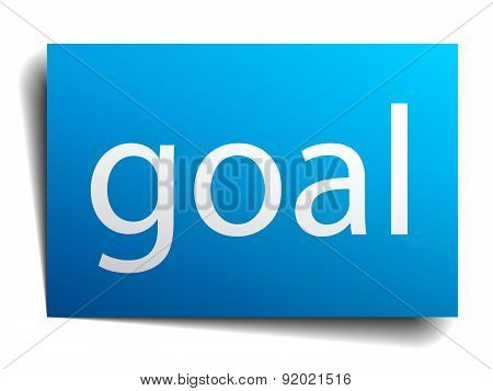 Goal Blue Paper Sign On White Background