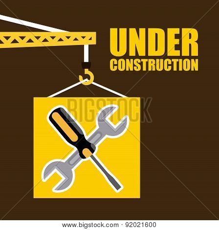 Construction design over brown background vector illustration