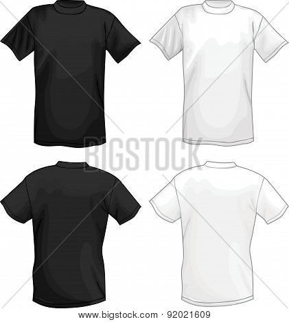White and black vector T-shirt design template (front & back)