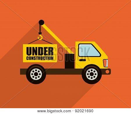 Construction design over orange background vector illustration