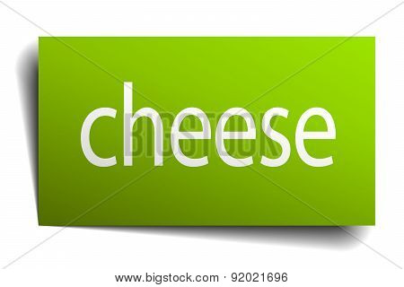 Cheese Green Paper Sign On White Background